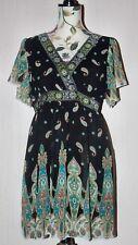 Jasmine London Black Multi Silky Chiffon Paisley Floral Midi Dress UK 12 14 M