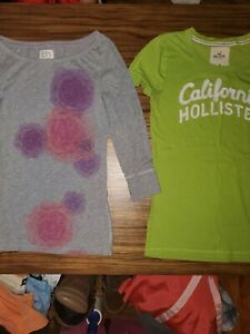 Womens clothing lot Juniors t Shirt Lot 3/4 sleeve Medium Hollister