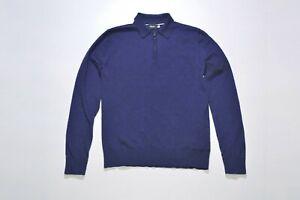 Rapha Long Sleeve Merino Wool Polo Cycling Shirt Jersey Navy Size M