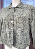 Flax Olive Green Floral Embroidery Blazer Cotton Corduroy Light Jacket Size S