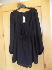 BNWT ~ PRETTY YOUNG THING BLACK TIE FRONT SHIRT PLAYSUIT sz 10
