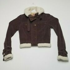 Juicy Couture Womens Small Brown Corduroy Jean Jacket Sherpa Logo Buttons