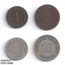 GERMANY Impero-Set piccolo Adler 1, 2, 5 e 10 Pfennig 1873 - 1889