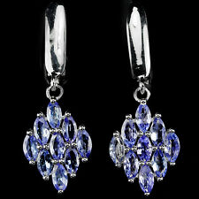 Sterling Silver 925 Genuine Marquise Blue Violet Tanzanite Cluster Earrings
