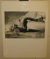 Original Vintage DAVID ROSENFELD 'Sailboat SAILORS Ballasting BOAT' PHOTOGRAPH