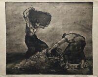 Kartoffelernte Frauen bei der Feldarbeit Radierung Rudolf Krauss? 30 x 41 cm