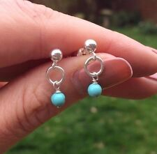 DESIGNER TURQUOISE EARRINGS STERLING SILVER STUD SMALL BEADED BIRTHSTONE JEWELRY