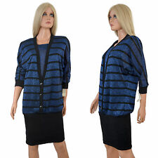 Vintage 80s COCOON SWEATER DRESS Batwing Blue Black Metallic Costume Party NOS