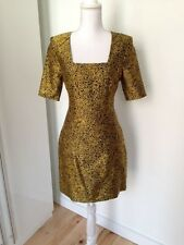 NWT'S $1,575 Jonathan Saunders black & gold graphic print dress UK 36/USA 4