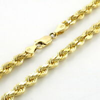 """REAL 10k Yellow Gold Italian 4mm Mens Womens Diamond Cut Rope Chain Necklace 22"""""""