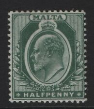Malta SG38  Ed VII  ½d  Green Very Lightly Mounted Mint