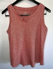 Women's TALBOTS Sleeveless V-Notch Neckline Top Shirt Blouse Sz M Red w/ White