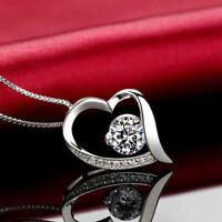 Halskette Herz Anhänger mit SWAROVSKI KRISTALLEN Collier 925 Sterling Silber!