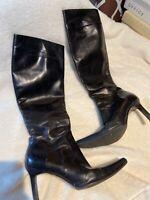 Ralph Lauren Black Knee High Leather Boots Size 6