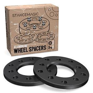 "2pc 1/2"" Thick Black Wheel Spacers - 5x4.75 & 5x4.5 - Black Billet Flat Aluminum"