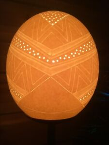 NAMIB Hand Carved Ostrich Egg Lamp with Metal Electric Stand