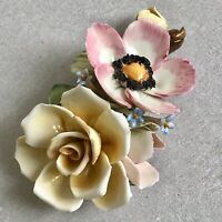 CAPODIMONTE Porcelain Flowers Duo Yellow Rose Home Ornament Flower Italian Decor