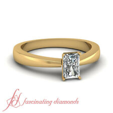 Tapered Style Solitaire Engagement Ring For Women 0.60 Ct Radiant Cut Diamond