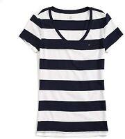 Tommy Hilfiger Damen T-Shirt, Baumwolle Signature Logo T-Shirt, Alle Großen