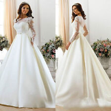 Satin Boat Neck A-line Long Sleeve Wedding Dresses