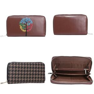 Ladies Wallet Brown Leather Purse Zip Card Holder Fashion Bag Clutch Houndstooth
