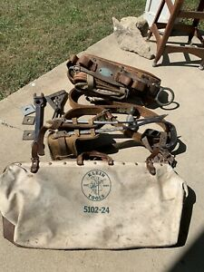 klein lineman Set, belt, tools, bag, leg spikes, Pole Belt Great Condition