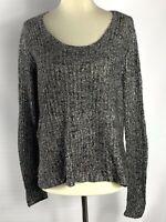 Eileen Fisher Women's Pullover Sweater Black White V Neck Size Small
