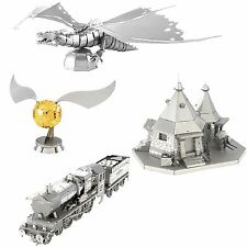 4 Metal Earth Model Kit Hogwarts Express Train Hagrid's Hut Golden Snitch Dragon