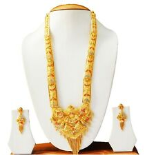 Indian Bridal Fashion Jewelry Set Gold Plated Long Necklace Earrings Jewelry Set