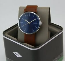 Authentic Fossil Hutton Silver Blue Brown Leather Men's BQ2438 Watch