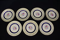 "7pc Vintage Johnson Brothers Yellow, Cobalt BAND Floral Pareek 6.5"" Bread Plates"