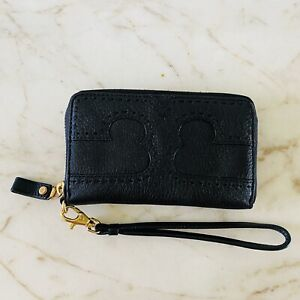 TORY BURCH Solid Black Soft Leather Zip Around Wallet Wristlet Large Logo