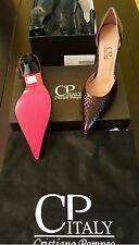 Cristiano Pompeo women's luxury pumps shoes sabot 7 patent leather croc bordeaux