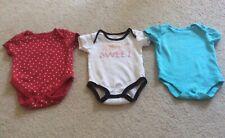 BABY GIRL 3 x VESTS BODYSUITS BUNDLE AGE 3-6 MONTHS PRIMARK PLOBABY FREE P&P
