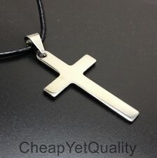 42x23mm Necklace with Leather Cord Stainless Steel Silver Plain Cross Pendant