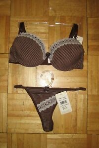 Push up bra pin stripe fabric with lace trim and thong 32C-38D