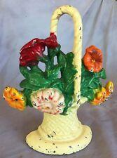 Antique cast door stop colorful flower basket ORIGINAL PAINT Hubley US