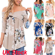 Plus 6-22 Womens Off Shoulder Casual Tops Ladies Loose Summer Floral T Shirt Tee