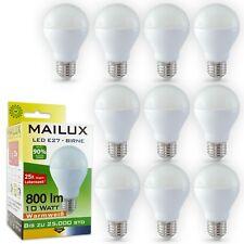 MAILUX 10x Pack LED-Birne E27 Glühbirne 6W 8W 10W Glüh-Lampe Leuchtmittel CRI 80