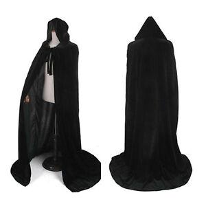 Black Coats Velvet Hooded Cloaks Vampire Robe Medieval Larp Cape Unisex Adult