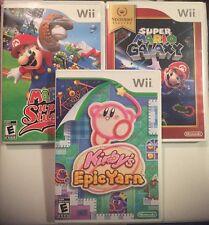 Great Wii Lot Mario Galaxy,Mario Super Sluggers,Kirby Epic Yarn Lot Kids Games