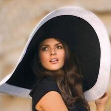 Women's Wide Brim Vacation Derby Beach Hat Black Hat White Brim Straw Summer Hat