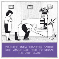 Shove His Golf Clubs Funny Fred Birthday Card Rupert Fawcett Humour Cards