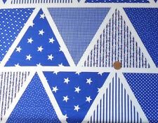 ROYAL BLUE EASY TO MAKE BUNTING FABRIC - 100% COTTON FABRIC FQ'S