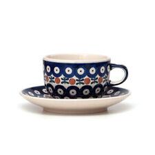 Bunzlauer Keramik Tasse mit Untertasse 200ml Dekor 70 Handarbeit Neu
