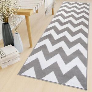 Grey Hallway Runner Rug Zig-Zag Geometric Living Room Hall Carpet Long Narrow