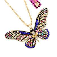 Betsey Johnson Crystal Rhinestone Cute Butterfly Pendant Chain Women's Necklace