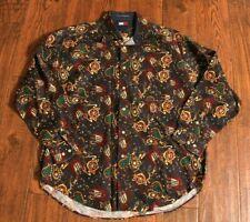 Vintage Tommy Hilfiger 90s Allover Print Saddle Crest Button Front Shirt Large