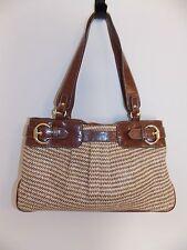 Nine & Company Satchel Handbag Faux Leather & Straw Purse