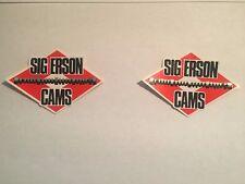 2 1968 SIG ERSON CAMS VINTAGE ORIGINAL RACING DECALS STICKERS NASCAR NHRA NOS